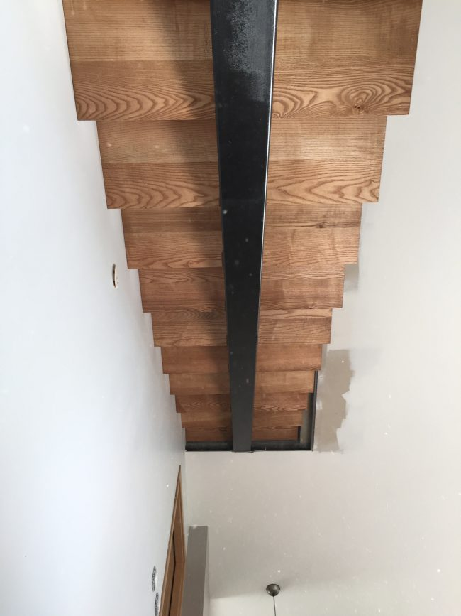 Escalier acier bois en alsace