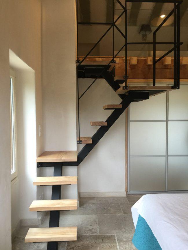 Escalier acier bois haut-rhin