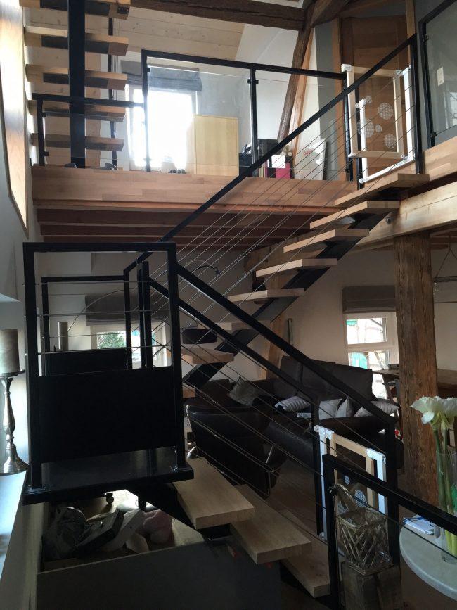 Escalier design acier bois haut-rhin