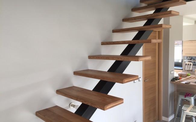 fabrication escalier bois-acier jacoby.escalier contemporain, escalier acier-bois