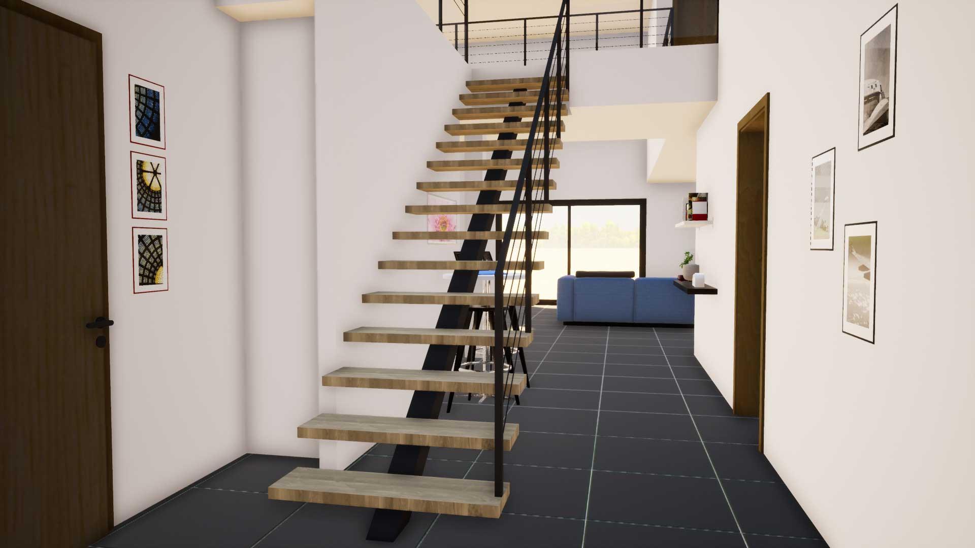 Escalier métal bois Languedoc Roussillon