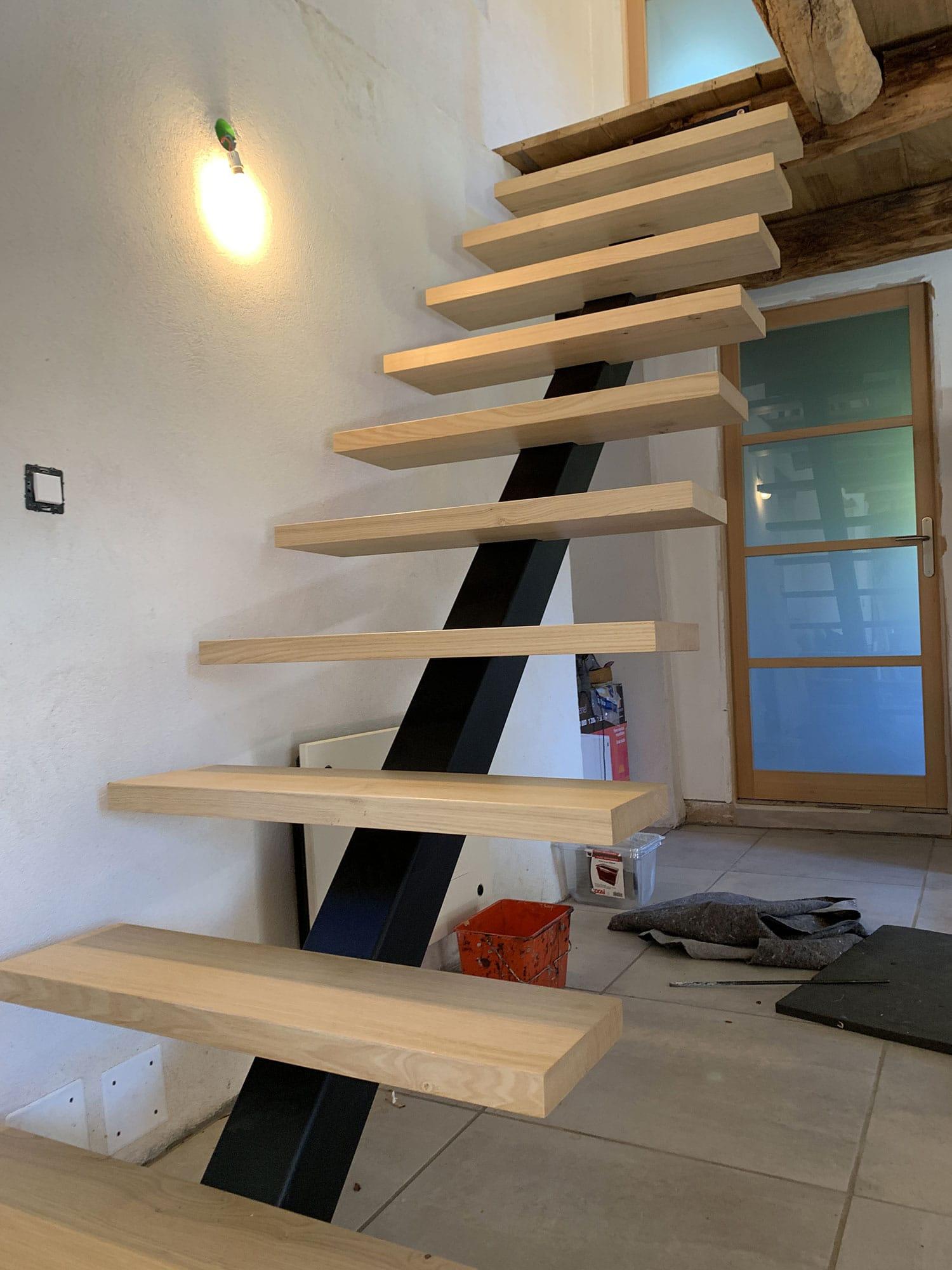 escalier métal bois Alsace